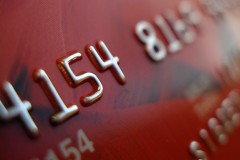 a credit card macro photo