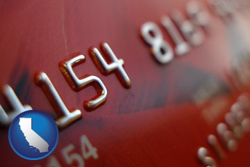 a credit card macro photo - with California icon