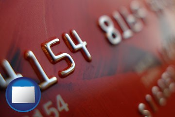 a credit card macro photo - with Colorado icon