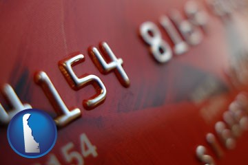 a credit card macro photo - with Delaware icon