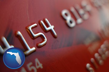 a credit card macro photo - with Florida icon