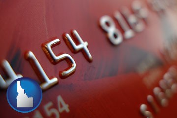 a credit card macro photo - with Idaho icon