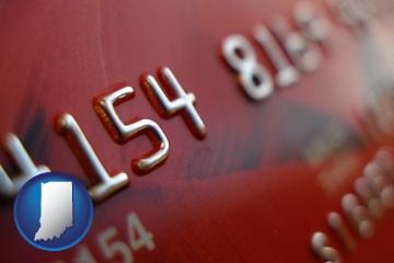 a credit card macro photo - with Indiana icon