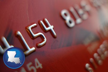 a credit card macro photo - with Louisiana icon
