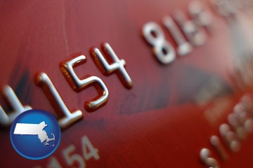 a credit card macro photo - with Massachusetts icon
