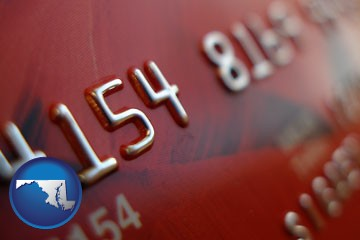 a credit card macro photo - with Maryland icon
