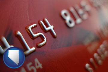a credit card macro photo - with Nevada icon