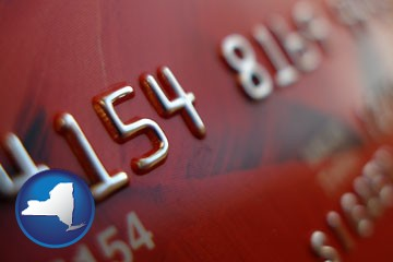 a credit card macro photo - with New York icon