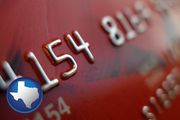 a credit card macro photo - with Texas icon
