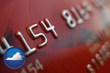 a credit card macro photo - with Virginia icon