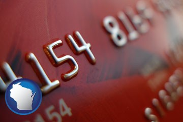 a credit card macro photo - with Wisconsin icon